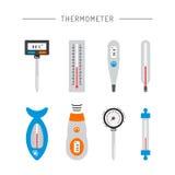 Iconos del termómetro de la imagen Imágenes de archivo libres de regalías