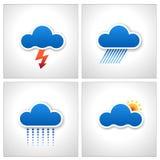 Iconos del tiempo de la nube del papel azul   Imágenes de archivo libres de regalías