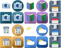 Iconos del tiempo del disquete del libro de la calculadora de la cámara Foto de archivo libre de regalías