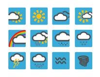 Iconos del tiempo del pronóstico Fotografía de archivo libre de regalías