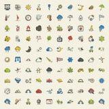 Iconos del tiempo 100 fijados para el web Fotografía de archivo libre de regalías