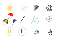 Iconos del tiempo o del pronóstico Fotografía de archivo