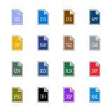 Iconos del tipo de archivo: Diverso - color de la UL de Linne Imagen de archivo libre de regalías