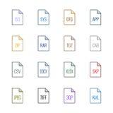 Iconos del tipo de archivo: Diverso - color de la UL de Linne Foto de archivo