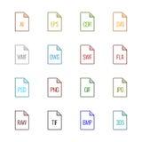 Iconos del tipo de archivo: Gráficos - color de la UL de Linne Fotos de archivo libres de regalías