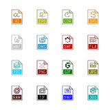 Iconos del tipo de archivo: Gráficos - Linne Color Imagenes de archivo