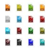 Iconos del tipo de archivo: Gráficos - Linne Color Imágenes de archivo libres de regalías