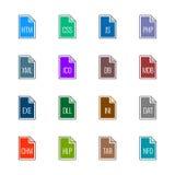 Iconos del tipo de archivo: Sitios web y usos - color de la UL de Linne Foto de archivo libre de regalías