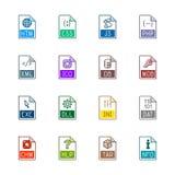 Iconos del tipo de archivo: Sitios web y usos - Linne Color Imagen de archivo libre de regalías
