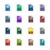 Iconos del tipo de archivo: Sitios web y usos - Linne Color Imágenes de archivo libres de regalías