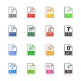 Iconos del tipo de archivo: Textos, fuentes y diseño de página - Linne Color Foto de archivo libre de regalías