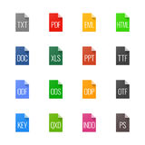Iconos del tipo de archivo - textos, fuentes y diseño de página stock de ilustración