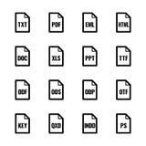 """Iconos del tipo de archivo: Textos, fuentes y serie de la UL de Bazza del †del diseño de página """" ilustración del vector"""