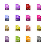 Iconos del tipo de archivo - vídeo, sonido, y libros ilustración del vector