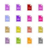Iconos del tipo de archivo: Vídeo, sonido, y libros - color de la UL de Linne Foto de archivo
