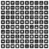 100 iconos del totalizador fijados negros Imagen de archivo libre de regalías