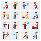 Iconos del trabajador de construcción planos