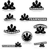 Iconos del trabajo en equipo stock de ilustración
