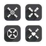 Iconos del trabajo en equipo Símbolos de las manos amigas Imagen de archivo