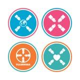 Iconos del trabajo en equipo Símbolos de las manos amigas Fotos de archivo libres de regalías