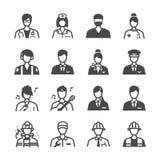 Iconos del trabajo fijados stock de ilustración
