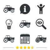 Iconos del tractor Transporte agrícola de la industria Imágenes de archivo libres de regalías