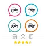 Iconos del tractor Transporte agrícola de la industria Imagenes de archivo