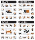 Iconos del transporte Fotografía de archivo libre de regalías