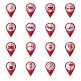 Iconos del transporte con el icono de la ubicación Imagen de archivo