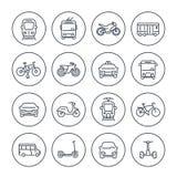 Iconos del transporte de la ciudad fijados en blanco libre illustration
