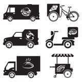 Iconos del transporte de la comida Fotos de archivo libres de regalías