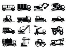 Iconos del transporte de la construcción Foto de archivo