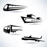 Iconos del transporte del cargo fijados Imagen de archivo