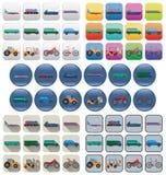 Iconos del transporte en diversos estilos Fotos de archivo libres de regalías