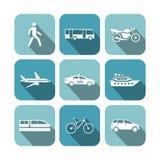 Iconos del transporte fijados Foto de archivo