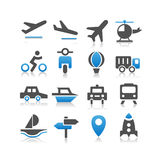 Iconos del transporte fijados Imagen de archivo