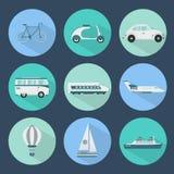 Iconos del transporte fijados Fotografía de archivo