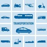 Iconos del transporte fijados Transporte de los coches y de los vehículos de la ciudad Coche, nave, aeroplano, tren, motocicleta, stock de ilustración