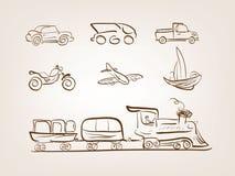 Iconos del transporte fijados en el fondo blanco Imagen de archivo