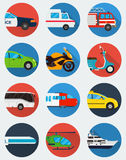 Iconos del transporte fijados Transporte del Municipal y del viaje Transporte público Estilo plano del diseño Vector Foto de archivo libre de regalías