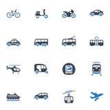 Iconos del transporte - serie azul Imágenes de archivo libres de regalías