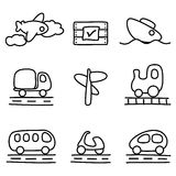 Iconos del transporte (variación blanco y negro) Foto de archivo