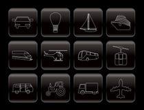 Iconos del transporte y del recorrido Imagenes de archivo