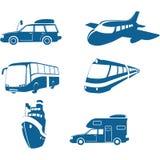 Iconos del transporte y del recorrido Imagen de archivo