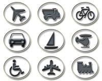 Iconos del transporte y del recorrido Foto de archivo libre de regalías