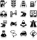 Iconos del tráfico por carretera Imágenes de archivo libres de regalías