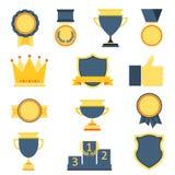 Iconos del trofeo y de los premios fijados Imágenes de archivo libres de regalías