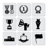 Iconos del trofeo y de los premios fijados Fotografía de archivo libre de regalías