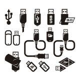 Iconos del USB. Formato del vector