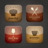 Iconos del uso de la comida y de la bebida Imágenes de archivo libres de regalías